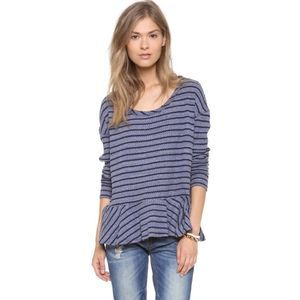 Free People Auntie Em Peplum Striped Thermal